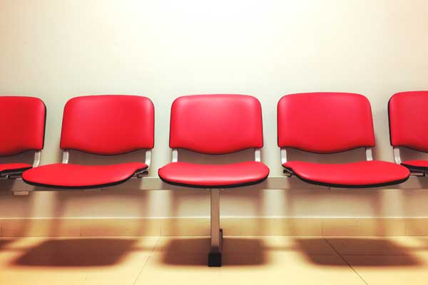 Chairs in an urgent care waiting room.